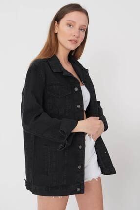 Addax Kadın Siyah Uzun Boyfriend Ceket C6301 - A10 ADX-00008194 3