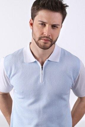 Ferraro Erkek Beyaz Açık Mavi Polo Yaka Desenli Pamuk Triko T-shirt 2