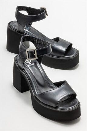 Elle Kadın Siyah Deri Topuklu Sandalet 1