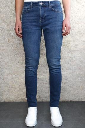 Collezione Collezıone Keven Koyu Mavi Taşlamalı Slim Fit Kot Pantolon 1