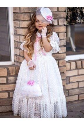 Riccotarz Kız Çocuk Beyaz Noble Beaute Şapkalı Elbise 0