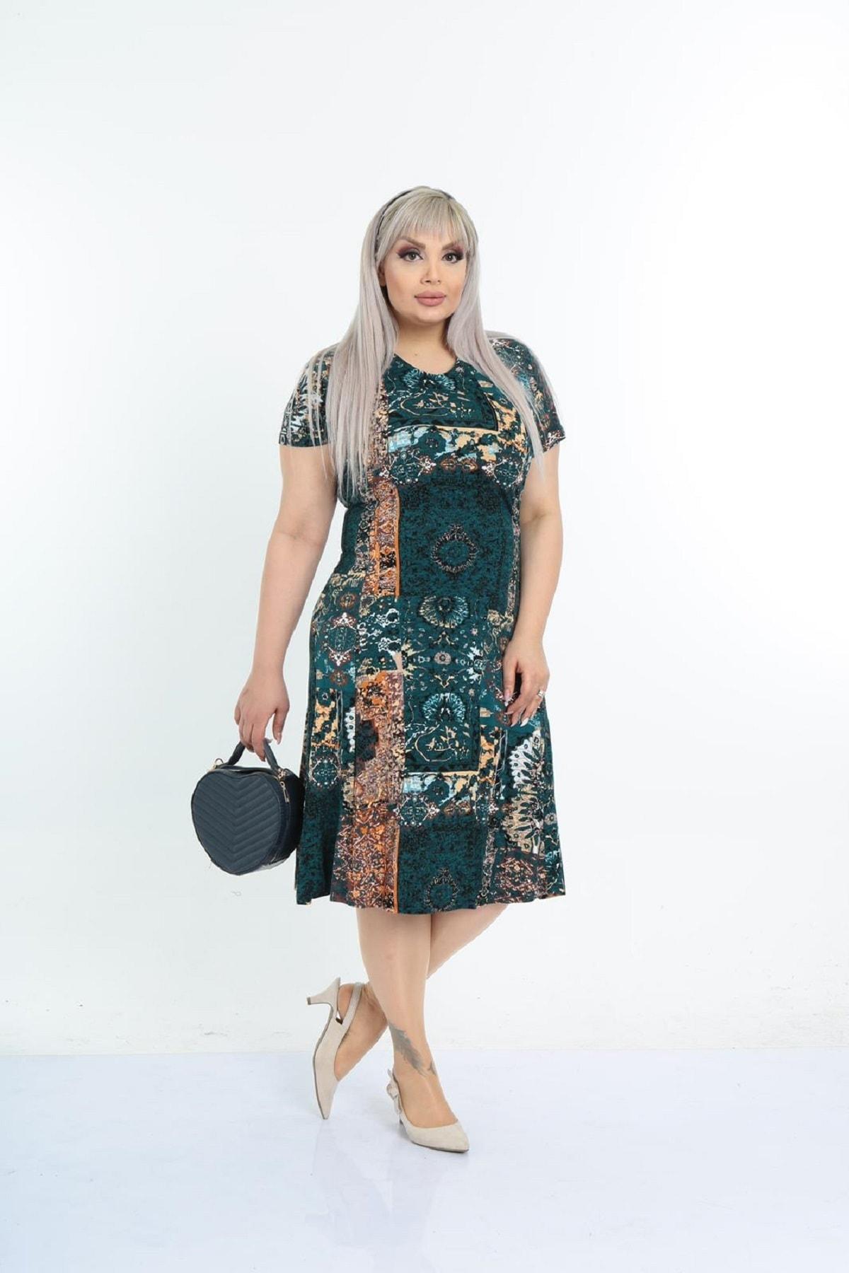 Kadın Büyük Beden Yeşil Etnik Desenli Günlük Viskon Elbise