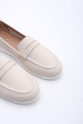Marjin Kadın Bej Hakiki Deri Loafer Ayakkabı Vonlez 4