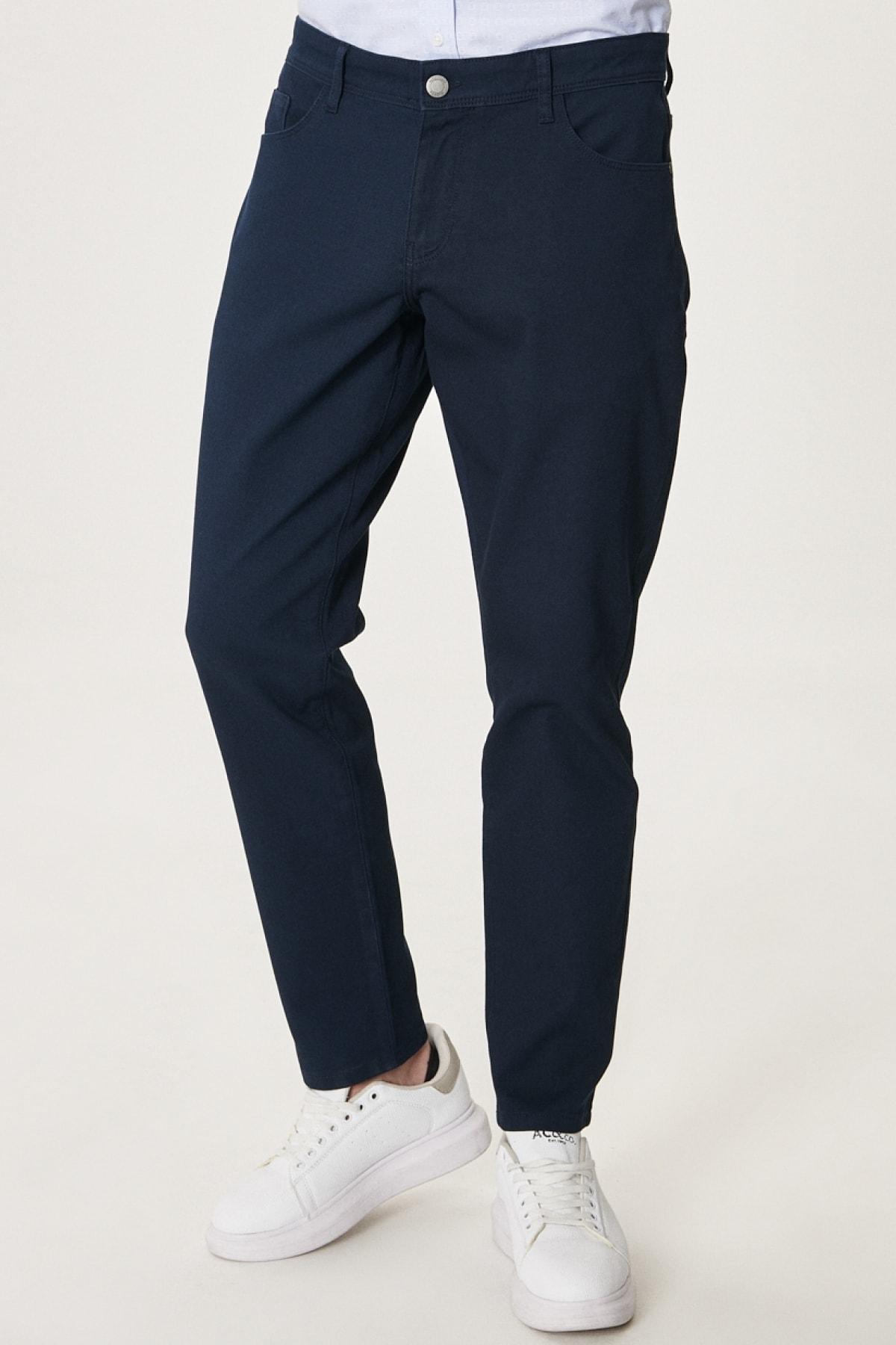 Erkek Lacivert Kanvas Slim Fit Dar Kesim 5 Cep Pantolon