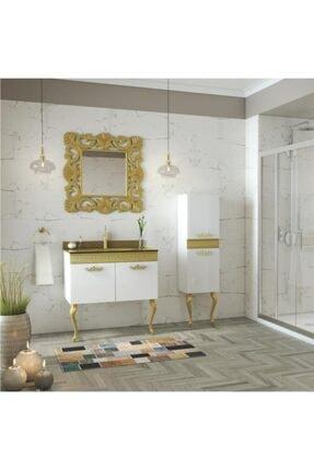 Housepack Gold Beyaz 100 Cm (65+35)boy Dolaplı Cam Lavabolu Lüx Banyo Takımı 2