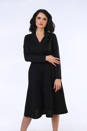 Be Happy Woman Kadın Siyah Kemerli Kruaze Yaka Midi Boy Elbise 1