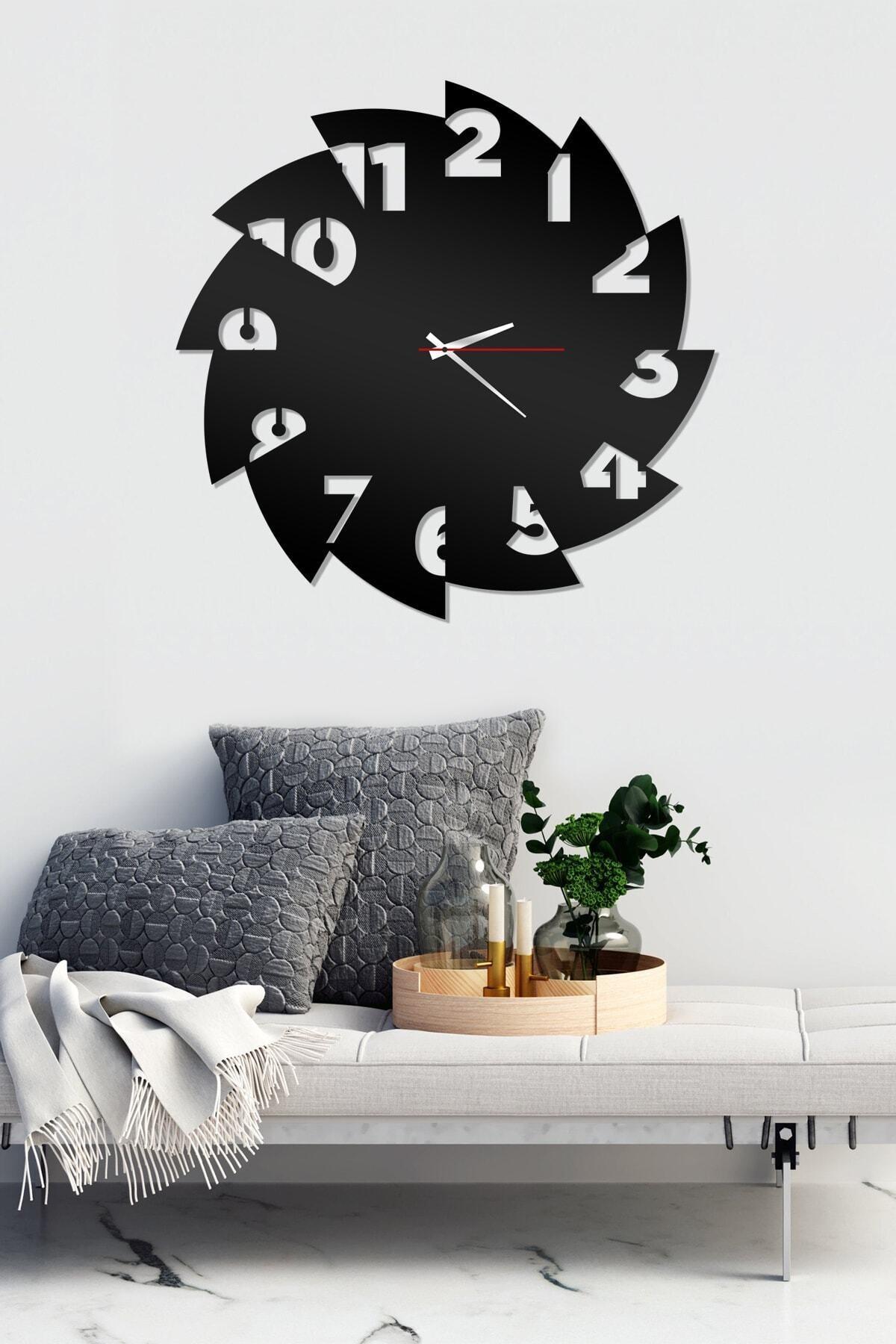 AHWALL Siyah Dekoratif Ahşap Duvar Saati