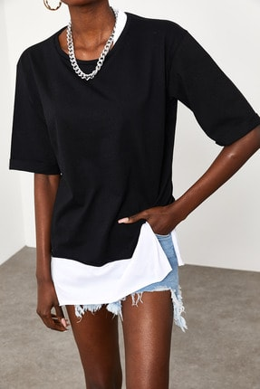 Xena Kadın Siyah Yakası & Eteği Garnili Salaş T-Shirt 1KZK1-11558-02 3