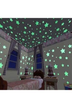 İstocToptan Fosforlu Yıldız Ay Gece Parlayan Oda Duvar Tavan Süsü 24 Parça 1