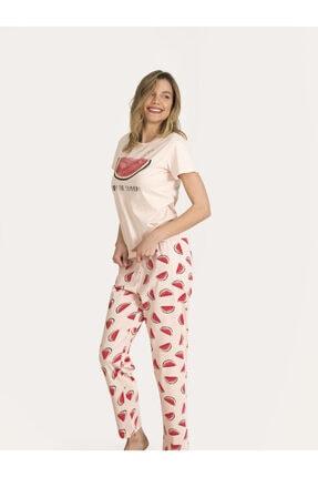 Nbb Kadın Somon Karpuzlu Pijama Takımı 67149 1