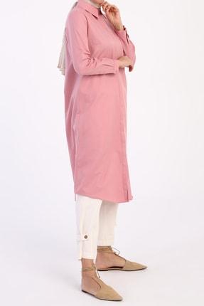 ALLDAY Kadın Pembe Gizli Patlı Gömlek Tunik 3