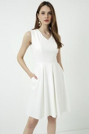 Vis a Vis Kadın Beyaz Kolsuz Kloş Elbise 3