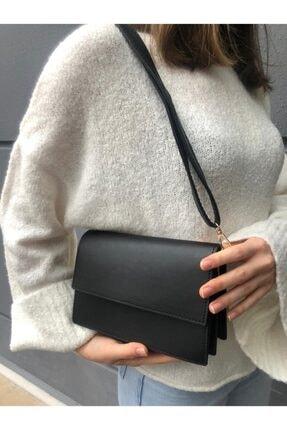 SWAN BOUTIQUE Kadın Siyah Kapaklı Çapraz Askılı Çanta 0