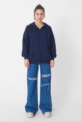 Addax Kadın Lacivert Kapüşonlu Uzun Hırka H0725 - W6 - W7 ADX-0000020316 3