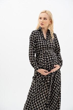 MUMELLA Kadın Krem Siyah Geometrik Şekilli Elbise 1