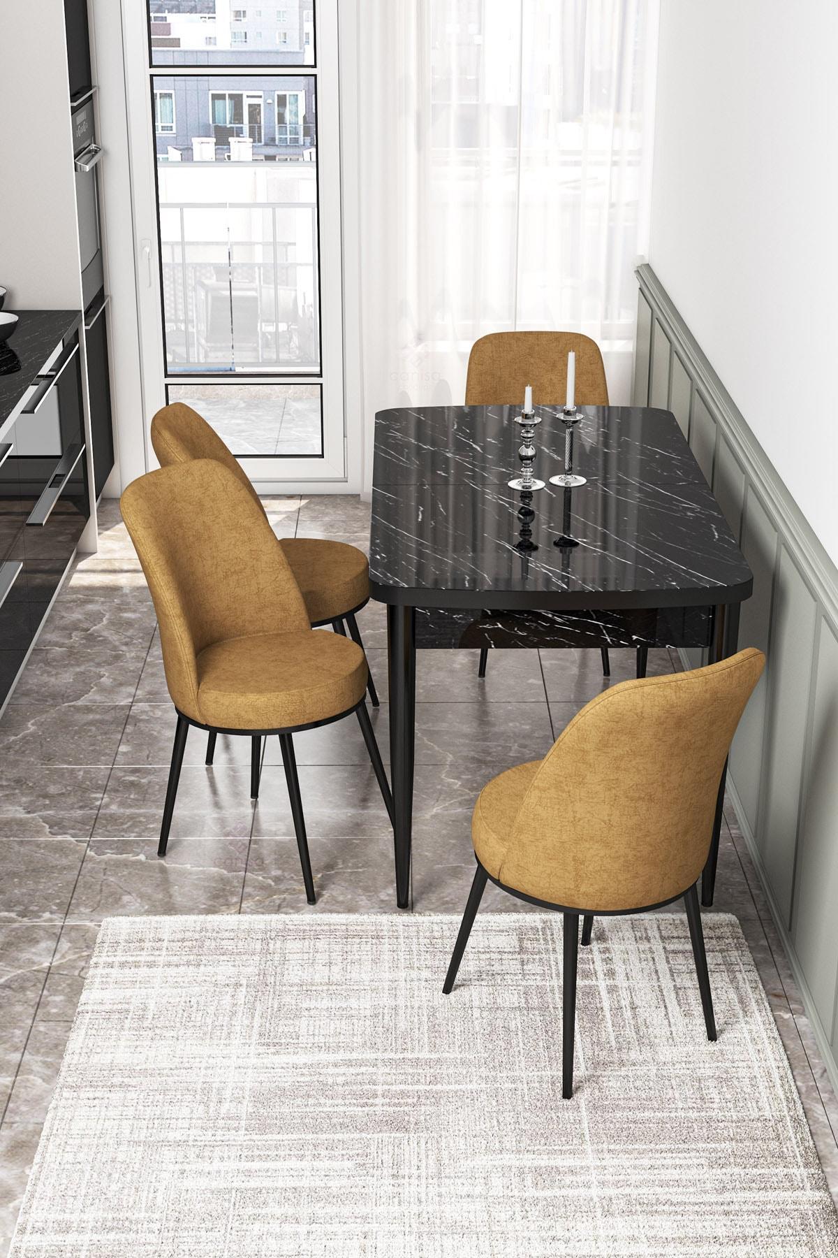 Açılabilir Mutfak Masası Takımı-siyah Masa+4 Adet Cappucino Sandalye