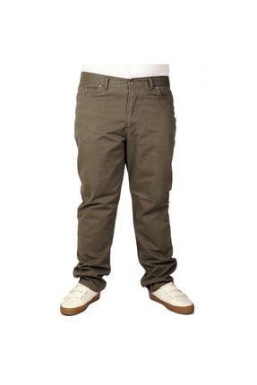 تصویر از Büyük Beden Erkek Keten Pantolon 5 Cep 21003 Haki