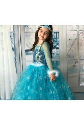 partikirtasiye Kız Çocuk Mavi Elsa Kostüm Saç Taç Asa Eldiven Setli Flama Hediyeli 1