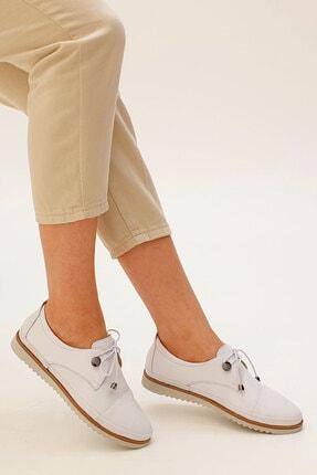 Marjin Kadın Beyaz Hakiki Deri Comfort Ayakkabı Demas 1