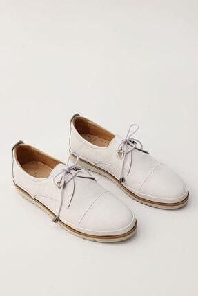 Marjin Kadın Beyaz Hakiki Deri Comfort Ayakkabı Demas 4