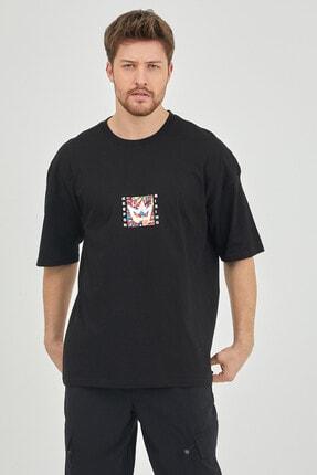 XHAN Siyah Önür & Arkası Baskılı Oversize T-shirt 1kxe1-44629-02 1