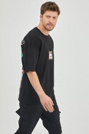XHAN Siyah Önür & Arkası Baskılı Oversize T-shirt 1kxe1-44629-02 2