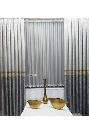 venedik home Fon Perde Brillant Pano Gri,krem,altın Renk Kombinli Fonperde 2