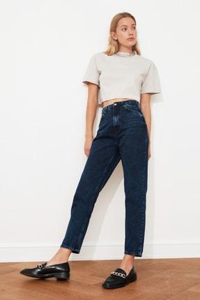 TRENDYOLMİLLA Gece Mavisi Yıkamalı Yüksek Bel Mom Jeans TWOSS20JE0099 1