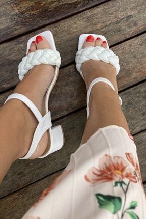 İnan Ayakkabı Küt Burun Örgü Tek Bant Topuklu Ayakkabı 2