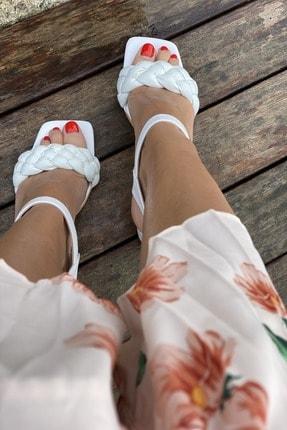 İnan Ayakkabı Küt Burun Örgü Tek Bant Topuklu Ayakkabı 3