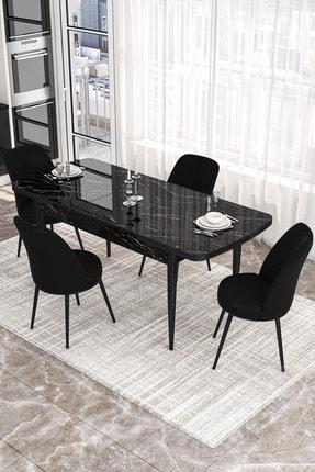 Canisa Concept Siyah Masa+4 Adet Siyah Sandalye Açılabilir Mutfak Masası Takımı 1