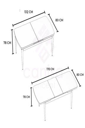 Canisa Concept Siyah Masa+4 Adet Siyah Sandalye Açılabilir Mutfak Masası Takımı 2