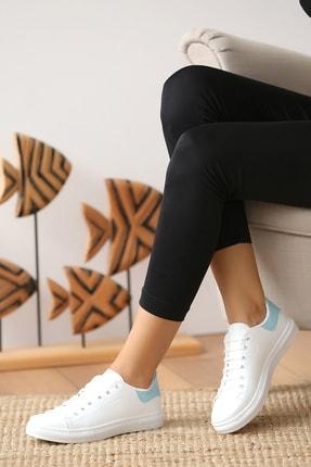 Pembe Potin Kadın Beyaz Mavi Casual Ayakkabı 1