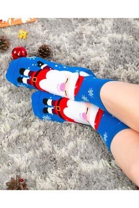 Socks Concept Kadın Mavi Renk Mutlu Noel Baba Desenli Soket Çorap 3