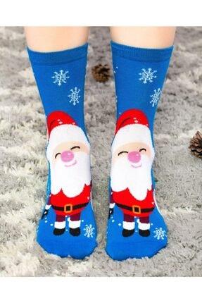 Socks Concept Kadın Mavi Renk Mutlu Noel Baba Desenli Soket Çorap 4