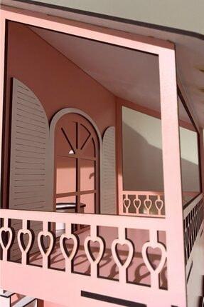 Özçıpa Hediye Pembe Ahşap Barbie Evi 80 cm Eşyalı 2