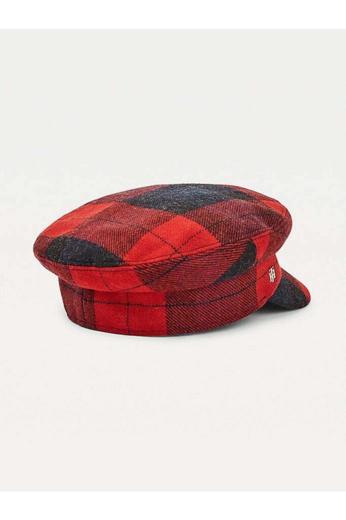 Tommy Hilfiger Th Baker Boy Check Yün Şapka