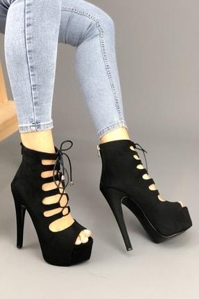 Bağcıklı Siyah Kalın Topuklu Ayakkabı YT522İO