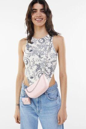 Bershka Kadın Pembe  Kılıf Detaylı Zincirli Askılı Mini Çanta 2