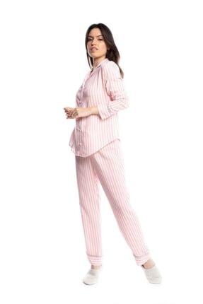 Qu Style Kumas Pembe Çizgili Gömlek Pijama 1