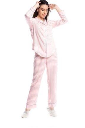 Qu Style Kumas Pembe Çizgili Gömlek Pijama 2