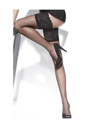Dore Kadın Siyah Silikon Dantelli Jartiyer Çorap 0