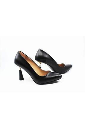 FORS SHOES Kadın Siyah  Cilt Klasik Topuklu Ayakkabı Yeni Topuk Nazita Ayakkabı 2