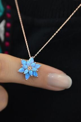 Papatya Silver Kadın Turkuaz Opal Taşlı Lotus Gümüş Kolye 1