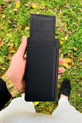 QAMER Unisex Siyah Telefon Bölmeli Deri El Cüzdanı Portföy 2