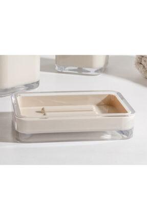 English Home Elegance Kristal 3'lü Banyo Seti 17,5x6,5x6,5 Cm+9x6,5x6,5 Cm+1 Bej 2