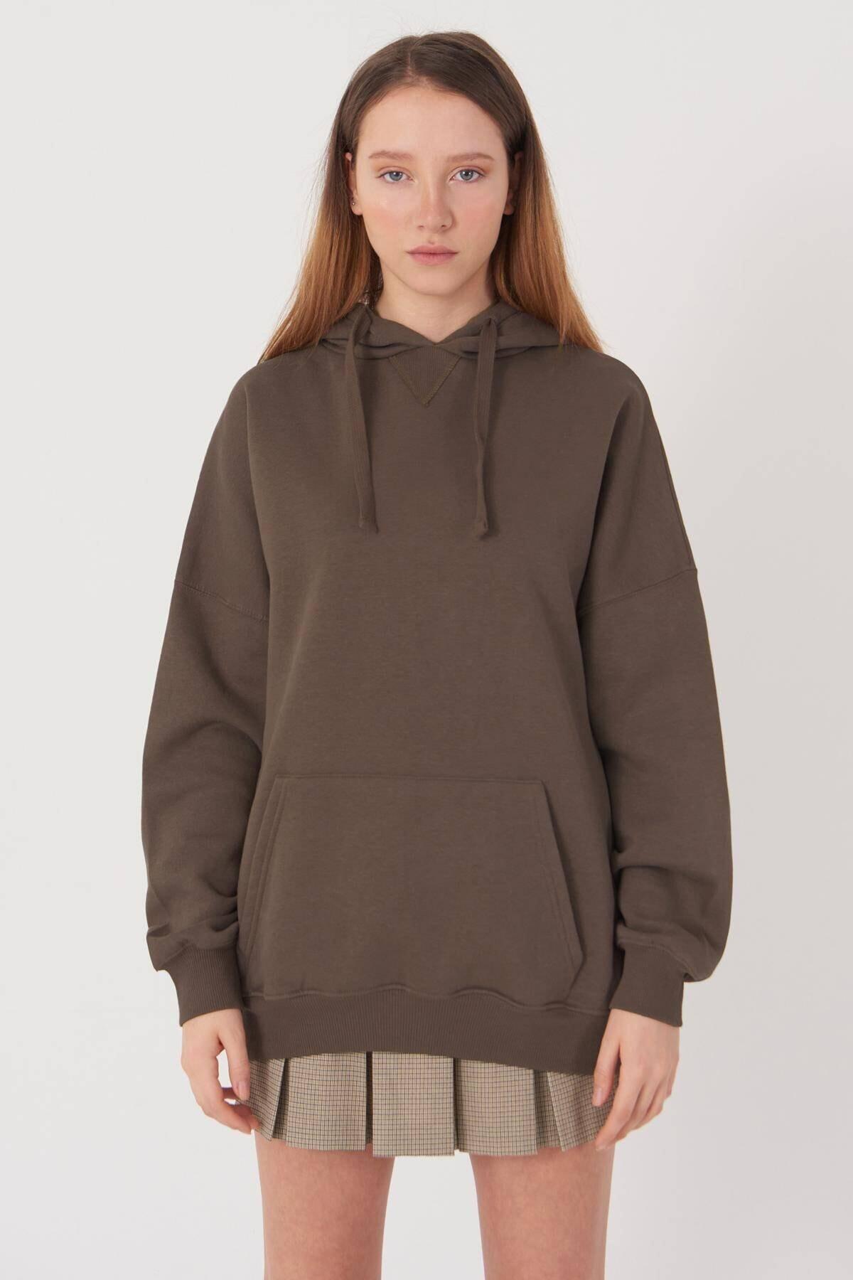 Addax Kadın Vizon Kapüşonlu Sweatshirt S0519 - P10V1 Adx-0000014040 0