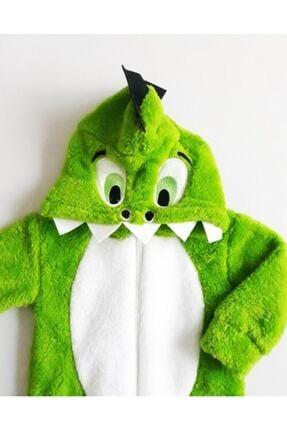 Bebesev Baby Unisex Bebek Yeşil Beyaz Peluş Timsahlı Tulum 2