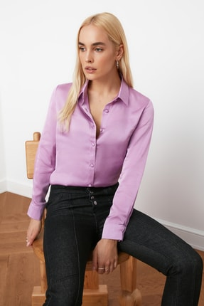 TRENDYOLMİLLA Lila Basic Gömlek TWOAW20GO0465 1
