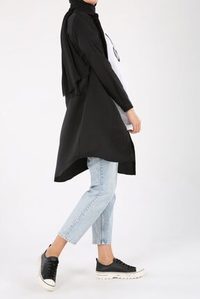 ALLDAY Siyah Gizli Patlı Gömlek Tunik 1